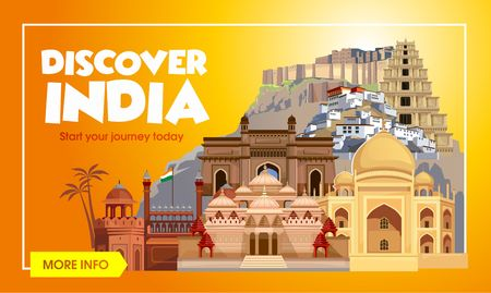 India travel banner. Trip to India design concept. India travel illustration. Travel promo banner. Vector India destinations.
