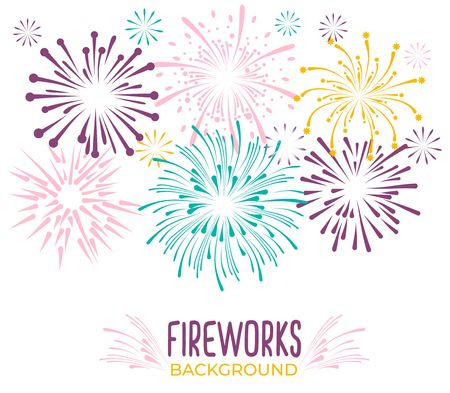 Fireworks collection isolated on white background. Colorful festive firework background. Vector illustration