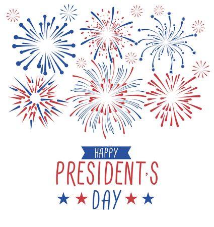 Happy Presidents day greeting card with fireworks. USA national holiday greetind card. Happy Presidents day vector illustraion design concept with fireworks isolated on white background. Illustration