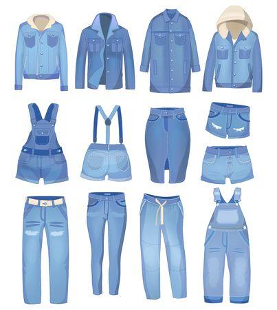 Ropa de mezclilla azul claro. Jeans, chaqueta, pantalón corto, mono y falda. Conjunto de jeans rotos. Vector ilustración de mezclilla