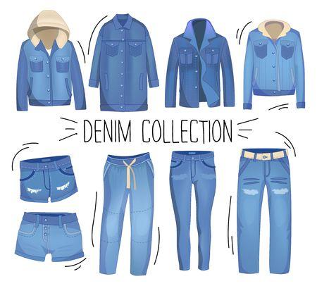 Jasnoniebieska odzież jeansowa. Dżinsy, kurtka, spodenki, kombinezony i spódnica. Zestaw zgrywanie dżinsów. Ilustracja wektorowa denimu