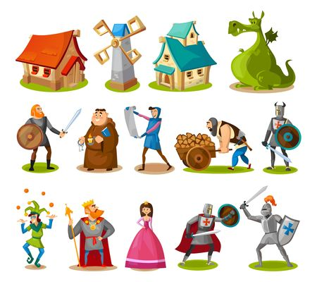 Medieval characters and buildings collection. Cartoon knights, princess, king, dragon, buildings etc. Vector fairy tale objects. Vektoros illusztráció