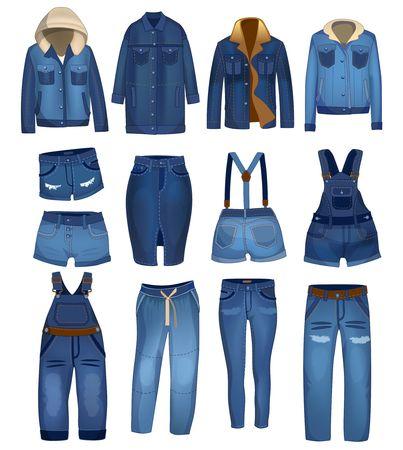 Kolekcja odzieży dżinsowej z podartymi detalami. Ciemnoniebieskie dżinsy, szorty i kurtki są dopasowane i stylowe. Odzież jeansowa wektor.