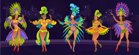 Carnival design concept with dancing women.Festive background for carnaval event in Brazil. Festive poster with carnival dancers in costumes. Vector illustration Standard-Bild - 124521051