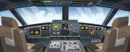 Airplane cockpit view with control panel buttons and sky background on window view. Airplane pilots cabin with dashboard control and pilots chair for games design. Airplane interface for UI, UX, GUI design. Vector illustration