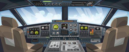Vista de la cabina del avión con botones del panel de control y fondo del cielo en la vista de la ventana. Cabina de piloto de avión con control de tablero y silla de piloto para diseño de juegos. Interfaz de avión para diseño UI, UX, GUI. Ilustración vectorial
