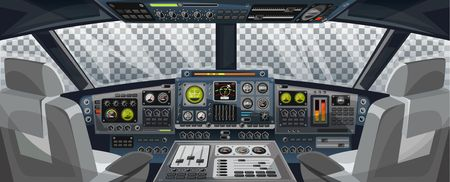 Airplane cockpit view with control panel buttons and transparent background on window view. Airplane pilots cabin with dashboard control and pilots chair for games design. Airplane interface for UI, UX, GUI design. Vector illustration Иллюстрация