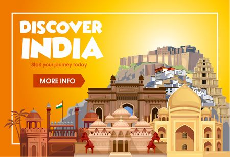 DIscover India travel banner. Trip to India design concept. India travel illustration. Travel promo banner. Vector India destinations. 矢量图像