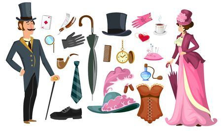 Victorian lady and gentlemen fashion collection in cartoon style. Vintage clothing set corset,shoes, hat, perfume, umbrella, sewing kit, razor etc. Vintage men's women's fashion accessories. Vector cartoon illustration Ilustração