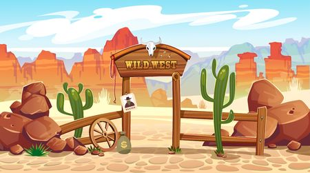 Wild west cartoon illustration with cacti, stones and mountains. Vector western illustration Vettoriali