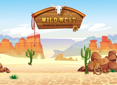 Wild west seamless pattern with mountains and cacti. Retro western background for games, ui, posters etc. Vector wild west illustration  イラスト・ベクター素材