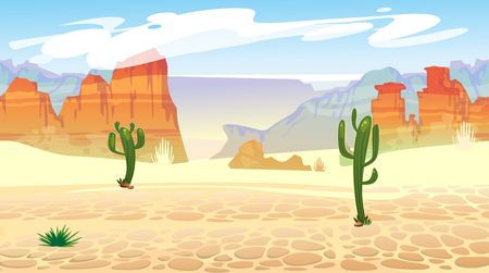 Wild west seamless pattern with mountains and cacti. Retro western background for games, ui, posters etc. Vector wild west illustration Vettoriali