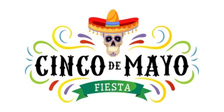 Cinco de mayo vector greeting card with scull, traditional mexican hat and flourish elements. 5 may mexican holiday colorful greeting card. Vector illustration Illustration