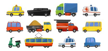 Funny city transport objects in trendy cartoon style. Vector public transport collection. ambulance fire-engine police taxi motorbike car tram isolated on white background. Colorful vector vehicle collection