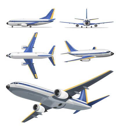 Vector airplane with yellow and blue stripes on white background. Airplane in top, side, back, front and bottom view. Vector aircraft illustration.