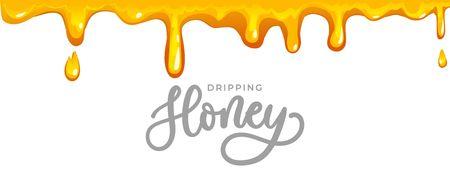 Fond de miel dégoulinant avec inscription de lettrage. Miel de dessin animé isolé sur fond blanc pour cartes, emballages, etc. Illustration vectorielle de miel Vecteurs