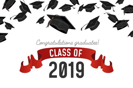 Flying Graduate caps on white background. Student hats with congratulations text. Class on 2019 invitation. Vector illustration