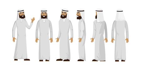 Arab muslim man character isolated on white background. Muslim man wearing traditional clothing front, rear, side view. Vector arab illustration in flat style.