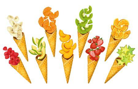 Summer fruits in ice-cream cones. Bananas, oranges, mango, strawberries, carambole, kiwi etc. Sliced summer fruits in cones isolated on white background. Cartoon fruits vector illustration Çizim