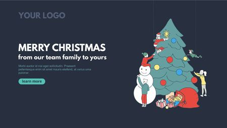 Merry Christmas line art banner design for corporate holiday greetings. Vector web banner concept with people decorating Christmas tree. Seasons greetings vector illustration