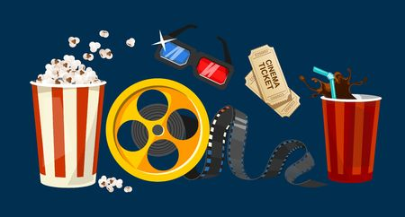 Movie object set in cartoon style. Popcorn, 3D glasses, cinema tickets, drink in the craft cup, reel, tape isolated on blue background. Vector colorful set of television and film industry.