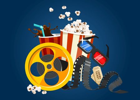 Movie film concept with popcorn, 3D glasses, tape and tickets. Cinema illustration for the film industry. Flying food and elements for cinema flyer or banner. Vector film industry illustration