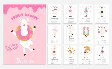 2020 calendar with alpaca. Cute calendar with llama character. Vector illustration