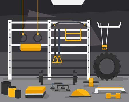 Gym of fitness center interior design in flat style with barbell, plates, medicine ball, kettlebell. power racks, rigs etc Vector Gym Equipment for crossfit.