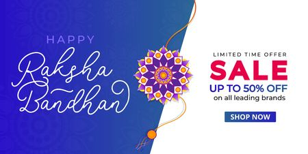 Happy Raksha Bandhan sale banner design template. Indian holiday promotional banner concept. Vector illustration Иллюстрация