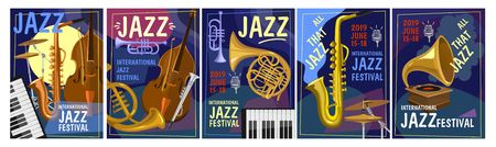 Jazz festival design concept. Colorful jazz party invitation posters set in cartoon style. Vector illustration