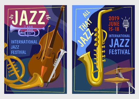 Jazz festival posters set. Colorful jazz party or invitation concepts. Vector illustration