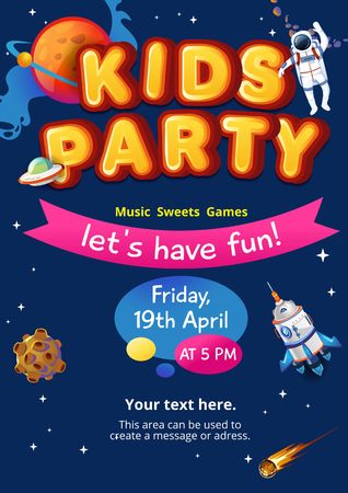 Cosmic party invitation. Kids party concept. Colorful space invitation for birthday, party etc. Vector illustration