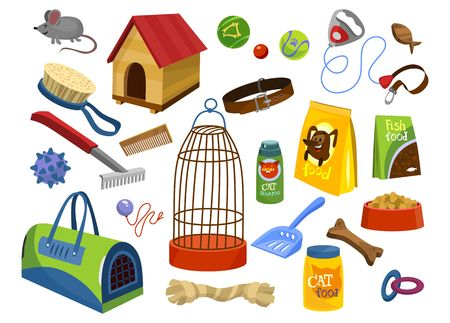 Pet supplies set isolated on white background. Toys, food, care elements for cats and dogs isolated on white background. Pet care objects isolated on white background in cartoon style. Vector illustration Иллюстрация