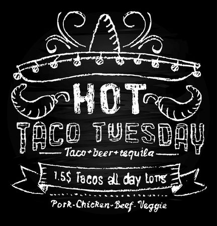 Hot taco tuesday promotion template with chalkboard effect. Chalk lettering mexican food. Vector taco tuesday concept.