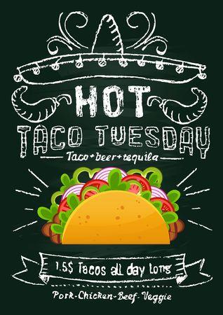 Diseño promocional de pizarra de taco martes. Folleto o pancarta de comida mexicana con efecto taco y pizarra de dibujos animados. Ilustración vectorial Ilustración de vector