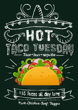Taco tuesday chalkboard promotional design. Mexican food flyer or banner with cartoon taco and chalkboard effect. Vector illustration