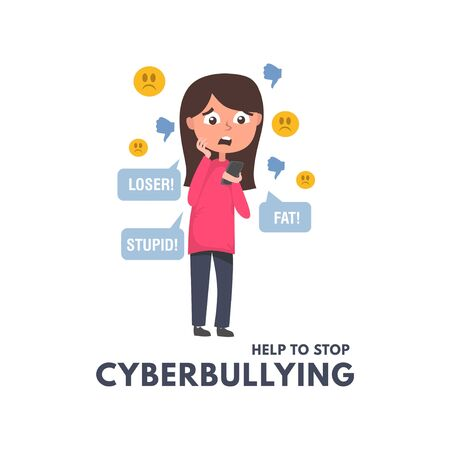 Help to stop cyberbullying concept with girl reading messages and comments in social networks. Children and adults bullying vector illustration. Cyberbullying in social networks illustration. Ilustracja