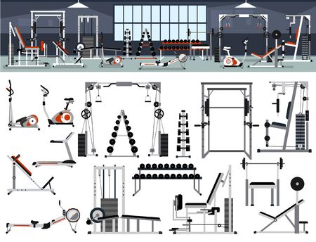 Gym interior builder. Fitness center design in flat style with power rack,Bench Press, Pull-Down, Pec Deck, Dumbbells, Exercise Bike, Leg Curl, Hack Squat, Leg Extension,leg abduction, Smith Machines.