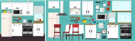 DIY kitchen builder set. Modern kitchen constructor in flat style with furniture and kitchen supplies. White kitchen facade, chair, fridge, table, microwave etc. Vector kitchen builder icon set.  イラスト・ベクター素材