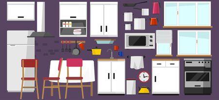 Colección de elementos de cocina. Cocina de bricolaje con fachada blanca en estilo escandinavo y electrónica doméstica aislada sobre fondo blanco. Cocina en estilo plano de dibujos animados. Ilustración de vector.