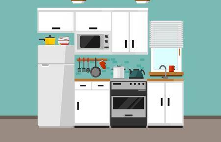 Moderne keukenillustratie in vlakke stijl. Cartoon wit keukenontwerp met witte gevel, magnetron, koelkast, raam, spoelbak, oven en keukenbenodigdheden. vector illustratie