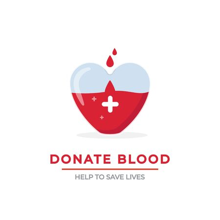 Blood donation poster vector illustration. Big heart-shaped glass full of red lifeblood flat style. Drops falling in giant heart with white cross. Help to save lives concept Illustration