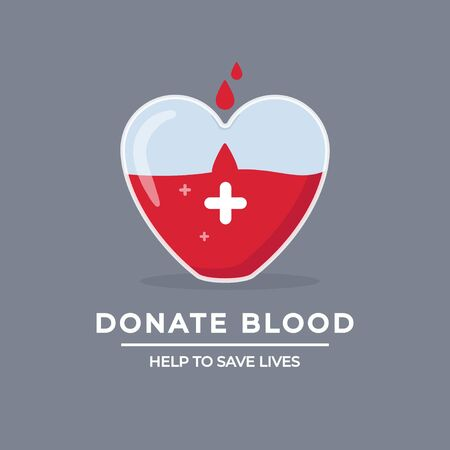 Help to save lives design poster vector illustration. Drops falling in giant heart with white cross flat style. Big heart-shaped glass full of red lifeblood. Blood donation concept