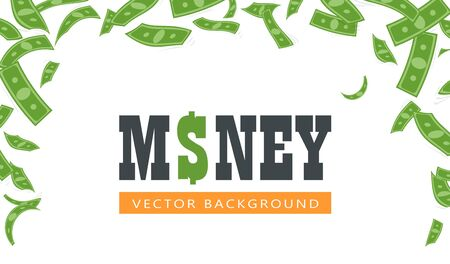 Flying green banknotes banner vector illustration. Frame with big amount of floating money on white background flat style design. Money rain concept. Place for text  イラスト・ベクター素材