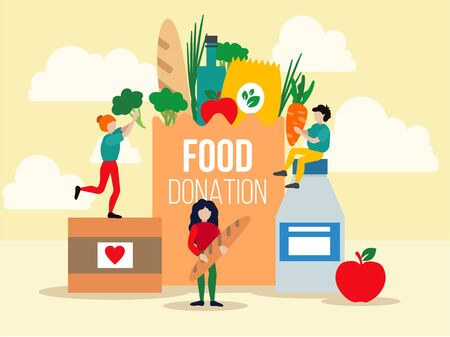 Food donation design vector illustration. Happy people helping to needy and poor people with foodstuffs such as apple, bread, vegetables in big paper packages flat style concept