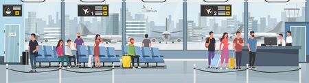 Modern international airport vector illustration. Passengers with luggage in arrival waiting room or departure lounge with chairs, information panels. Terminal hall with big window flat style concept Фото со стока - 129337413
