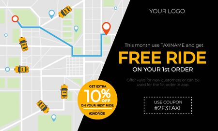 Modern taxi banner ad with promotional code vector illustration. Free ride discount card with top view on city map with geolocation pins and yellow taxicab flat style concept