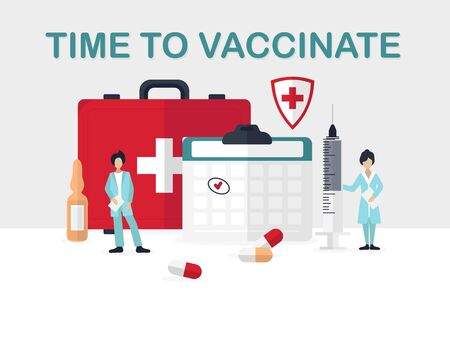 Time to vaccinate colorful medical poster vector illustration. Smart doctors standing near important health kit with cross. Healthcare vaccination concept Stock Illustratie