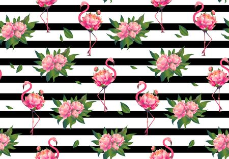 Cute spring floral flamingo seamless pattern vector illustration. Beautiful and sophisticated pink birds with blossom bouquet on white and black striped background