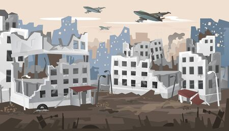 Bombed city suffered from intense warfare banner vector illustration. Destroyed town landscape, building between the ruins and concrete with bomb explosions. War destruction panorama concept